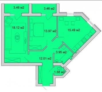 2-x квартира, Озерна, 3